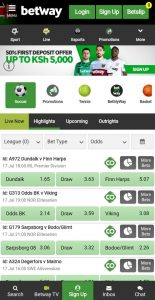 Betway Interface