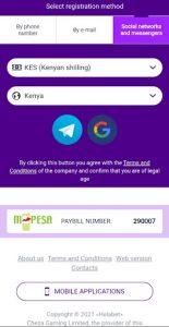 Helabet - registration by social networks