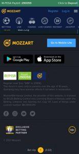 Mozzartbet Install IOS menu