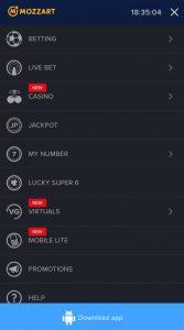 Mozzart Install Android Menu