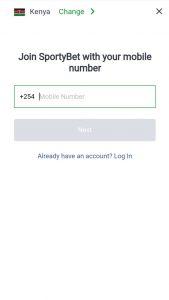 sportybet registration phone